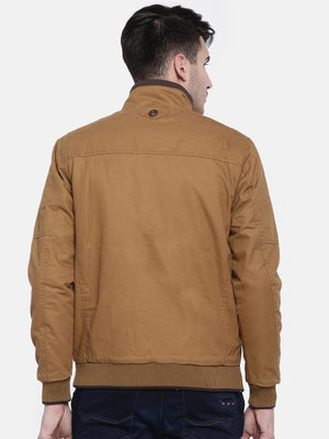t-base Brown Solid Bomber Jacket