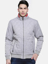 t-base Grey Solid Bomber Jacket