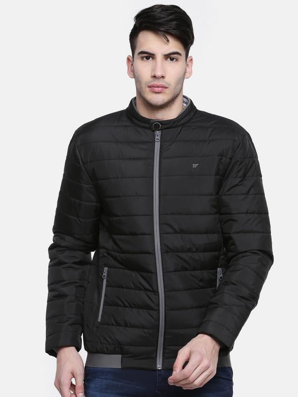 t-base Black Solid Quilted Jacket
