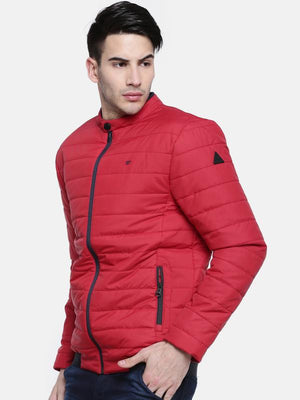 t-base Red Solid Quilted Jacket