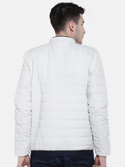 t-base Off-White Solid Quilted Jacket