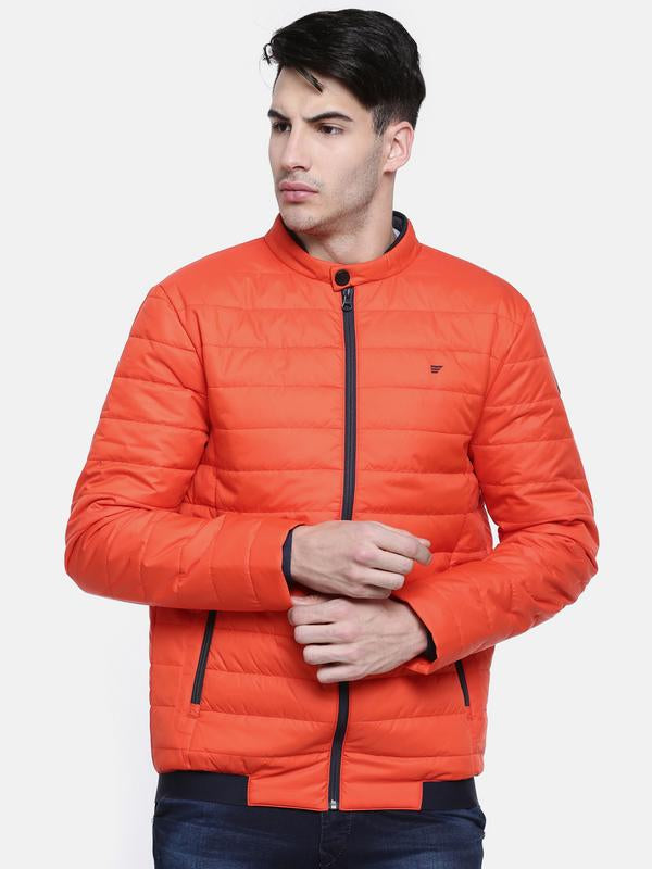 t-base Orange Solid Quilted Jacket