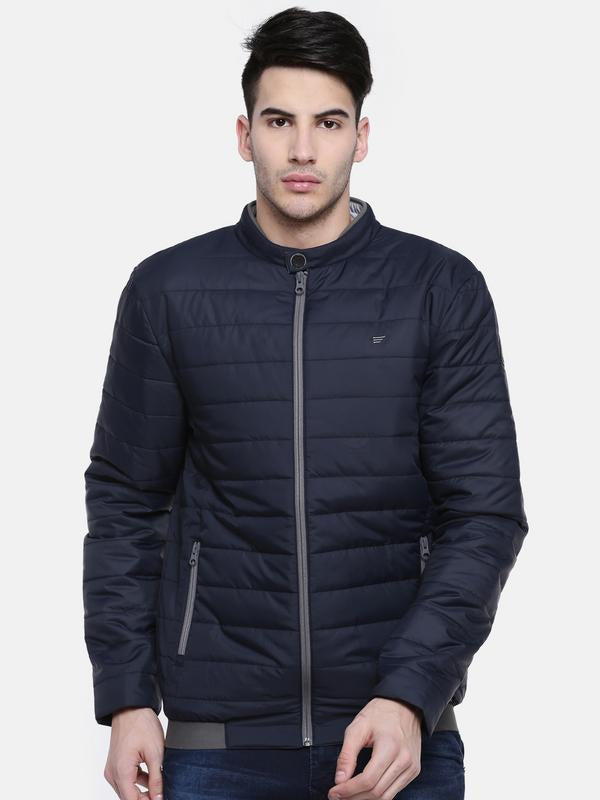 t-base Navy Blue Solid Quilted Jacket