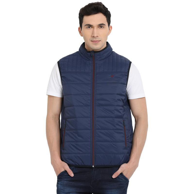 t-base navy sleeveless padded jacket