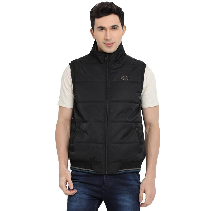 t-base black sleeveless padded jacket