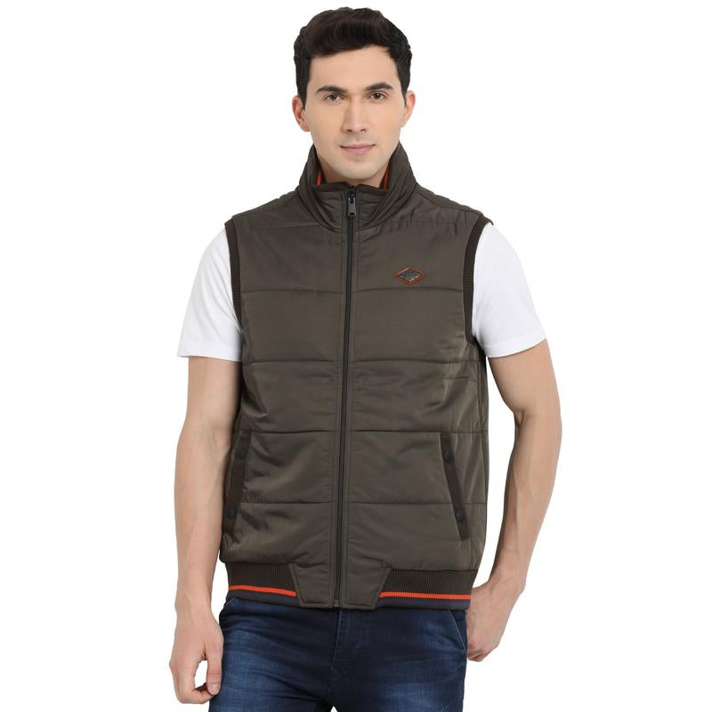 t-base olive sleeveless padded jacket