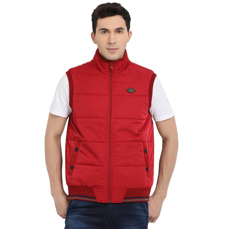 t-base red sleeveless padded jacket