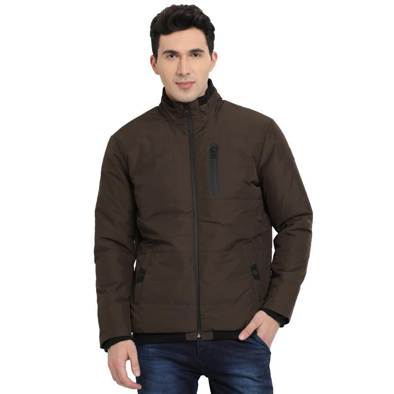 t-base olive solid padded jacket