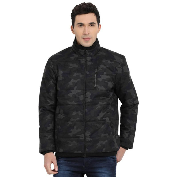 t-base grey printed padded jacket