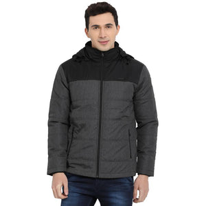 t-base black colourblocked padded jacket