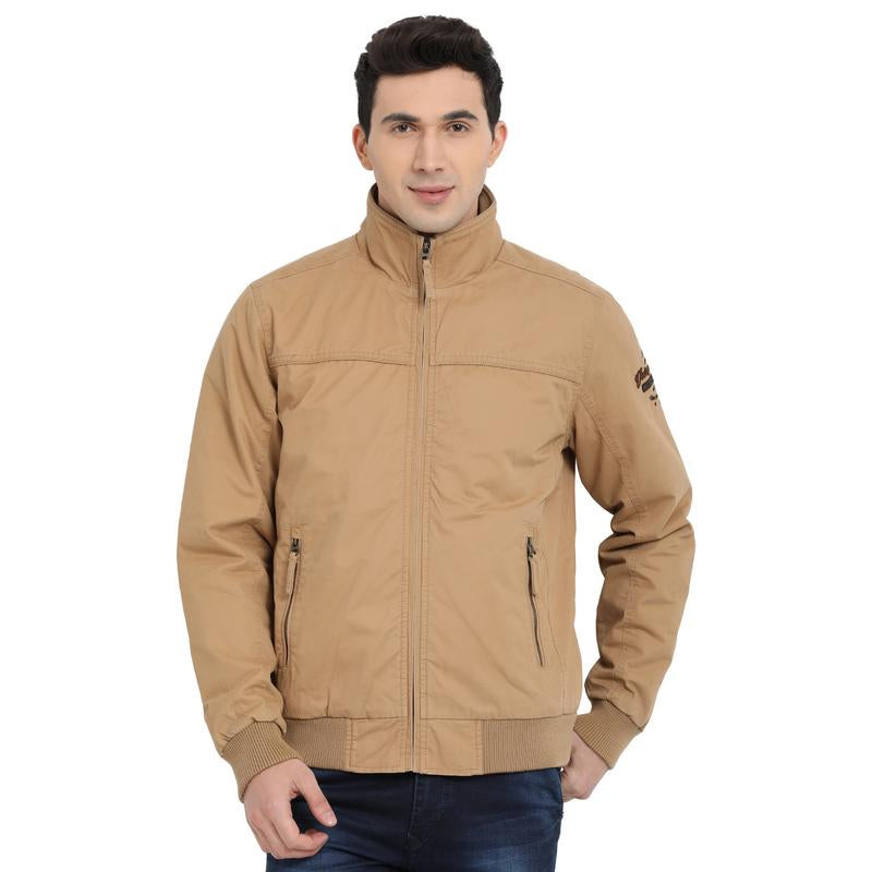 t-base beige solid bomber jacket