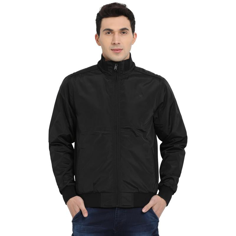 t-base black solid bomber jacket