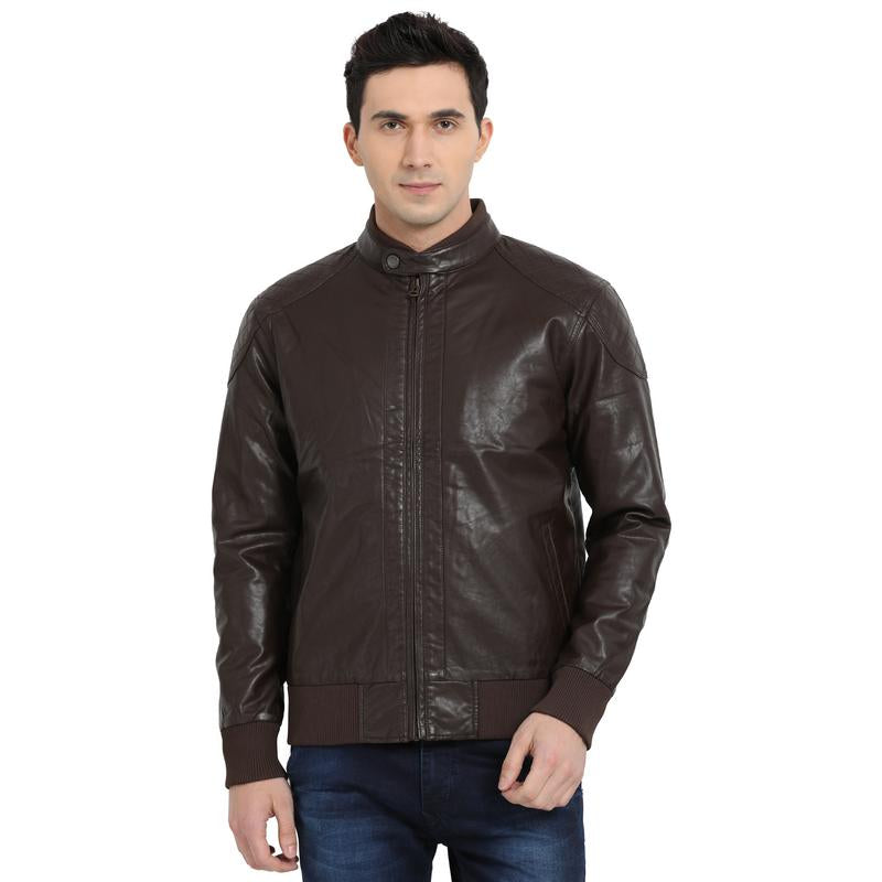 t-base brown faux leather bomber jacket