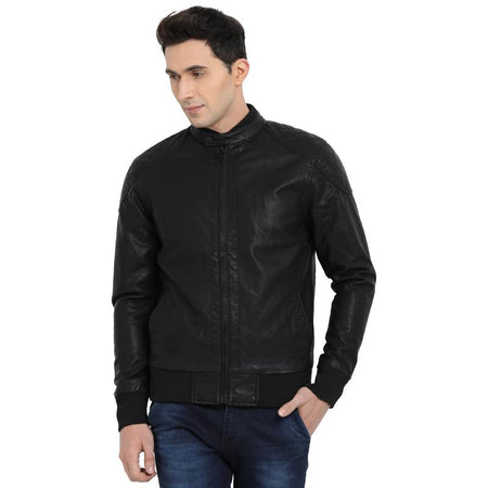 t-base black faux leather bomber jacket