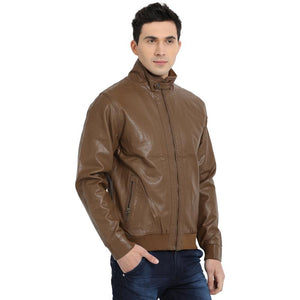 t-base chocolate brown faux leather bomber jacket