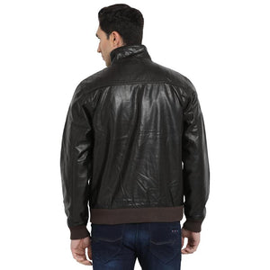 t-base black coffee faux leather bomber jacket