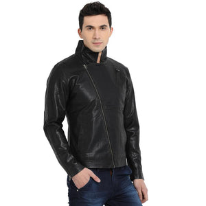 t-base black faux leather biker jacket
