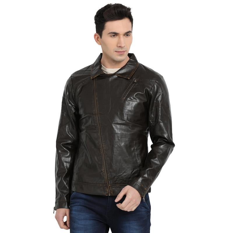 t-base chocolate brown faux leather biker jacket