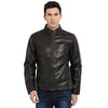 t-base black coffee faux leather biker jacket