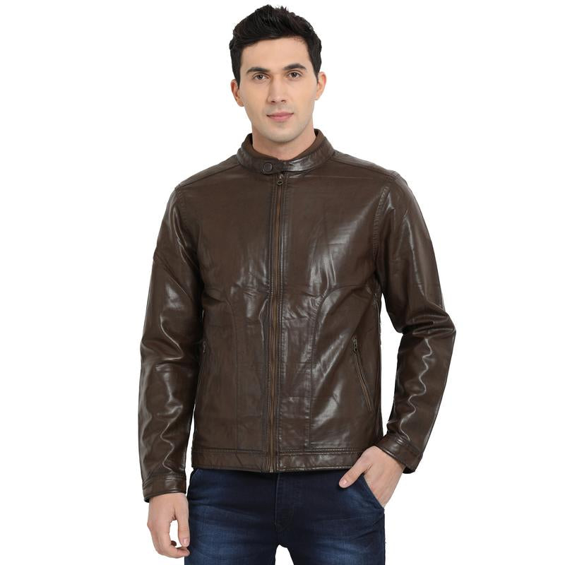 t-base brown faux leather biker jacket