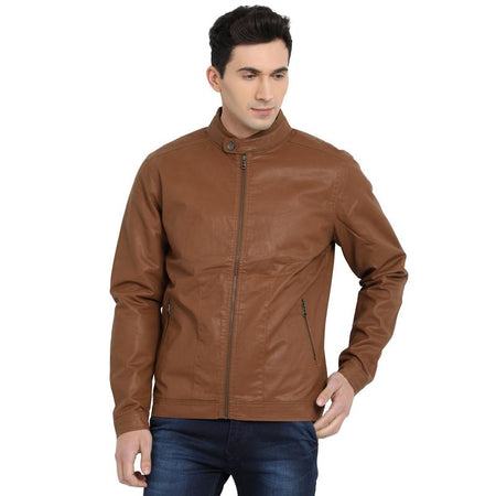 t-base brown cotton biker jacket