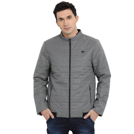 t-base grey solid padded jacket
