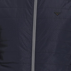 t-base navy printed padded jacket