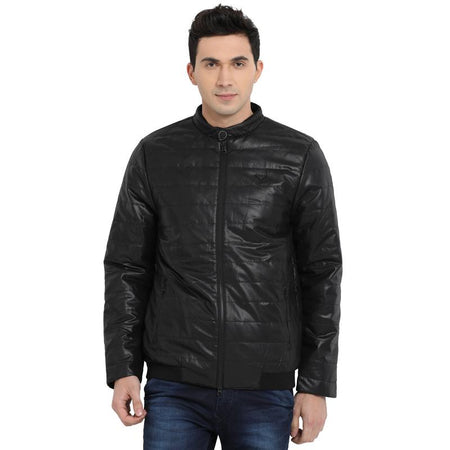 t-base black printed padded jacket