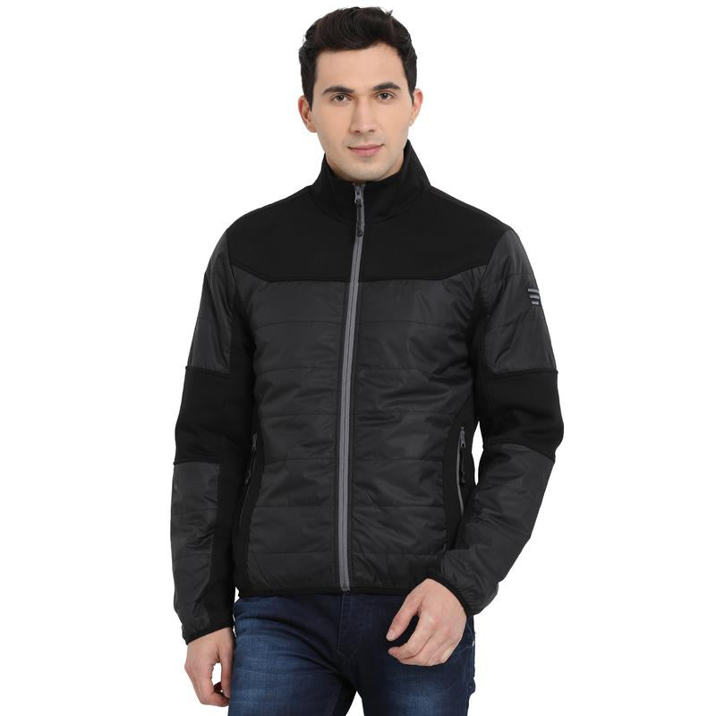 t-base black solid padded jacket