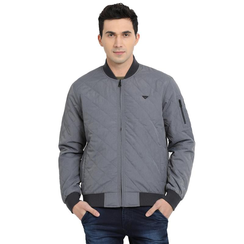 t-base grey solid padded bomber jacket