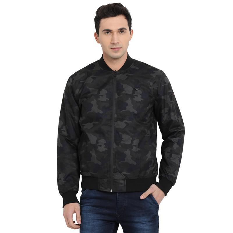 t-base grey camo print bomber jacket