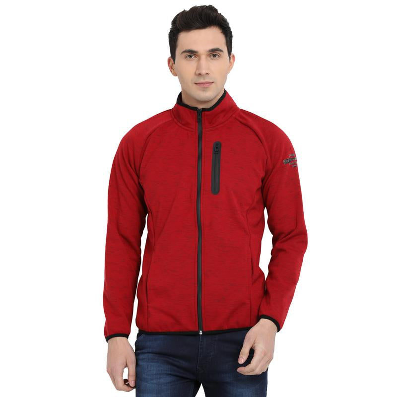 t-base red self design sporty jacket