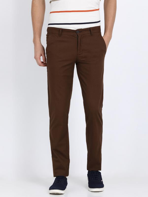 t-base men's brown slim tapered chinos