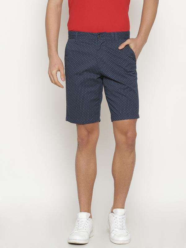 t-base Men's Navy Blue Cotton Printed Chino Short