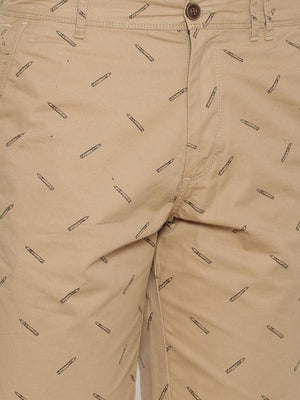 t-base Men's Khaki Cotton Printed Chino Short
