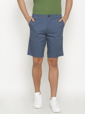 t-base Men's Blue Cotton Printed Chino Short