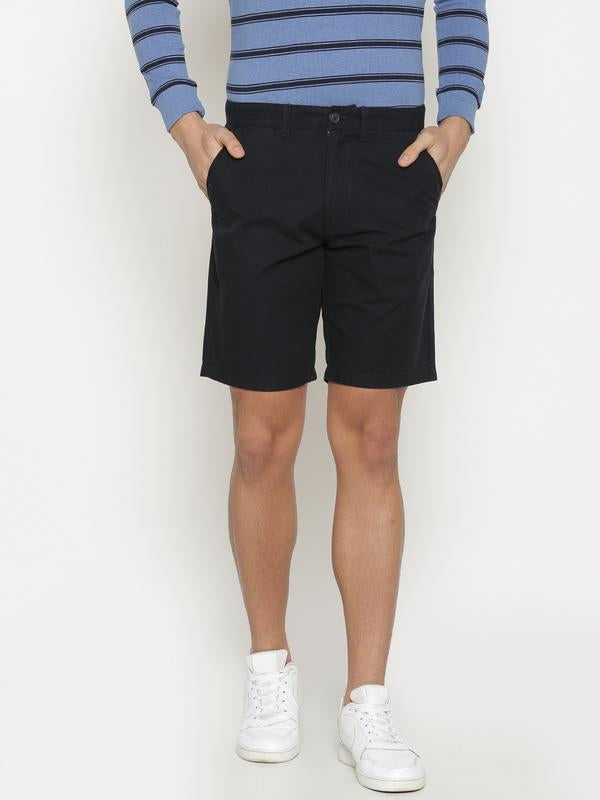 t-base Men's Navy Blue Cotton Solid Chino Short