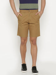 t-base Men's Khaki Cotton Solid Chino Short