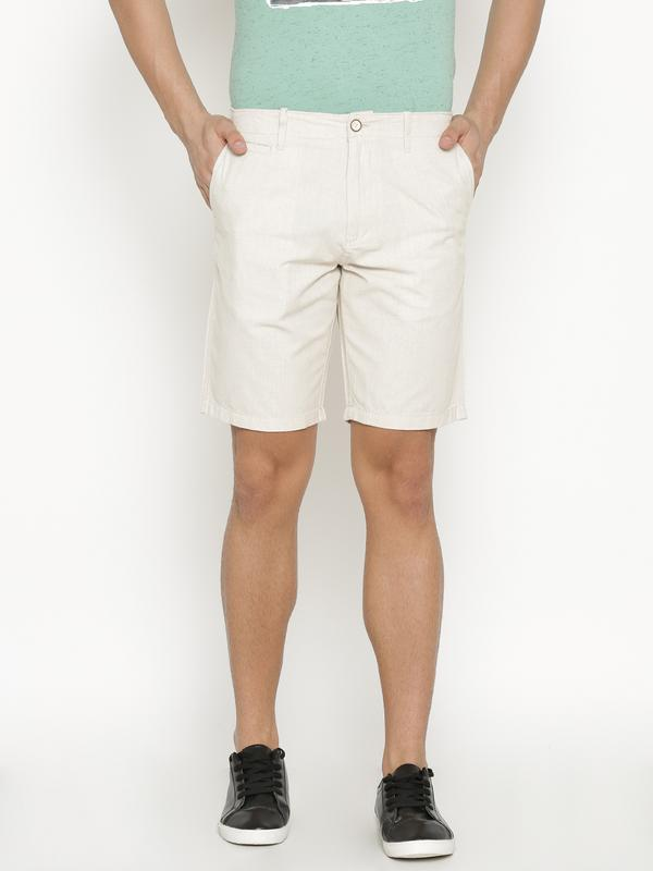 t-base Men's Beige Cotton Solid Chino Short
