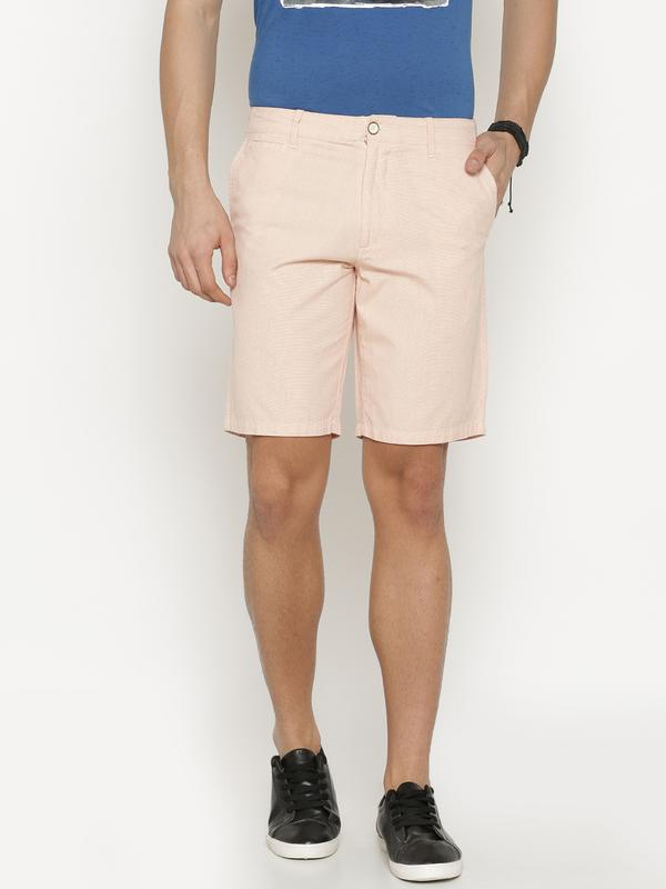 t-base Men's Orange Cotton Solid Chino Short