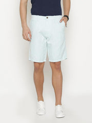 t-base Men's Blue Cotton Solid Chino Short