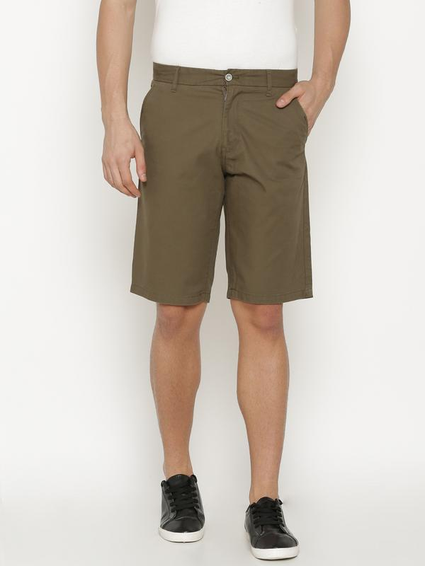 t-base Men's Olive Cotton Solid Chino Short