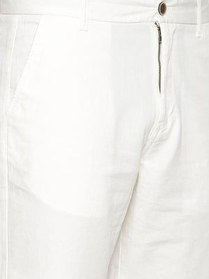 t-base Men's Off White Cotton Solid Chino Short