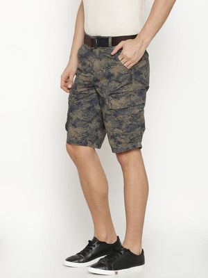 t-base Men's Olive Cotton Printed Cargo Short