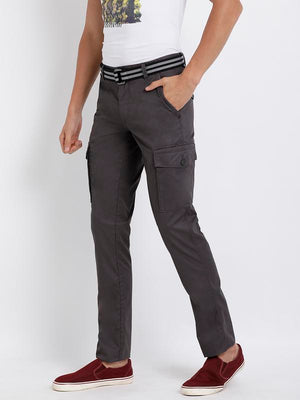 t-base men's grey solid cargo pants