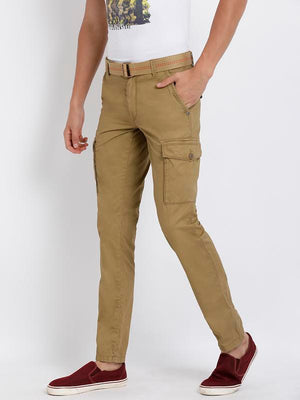 t-base men's khaki solid cargo pants