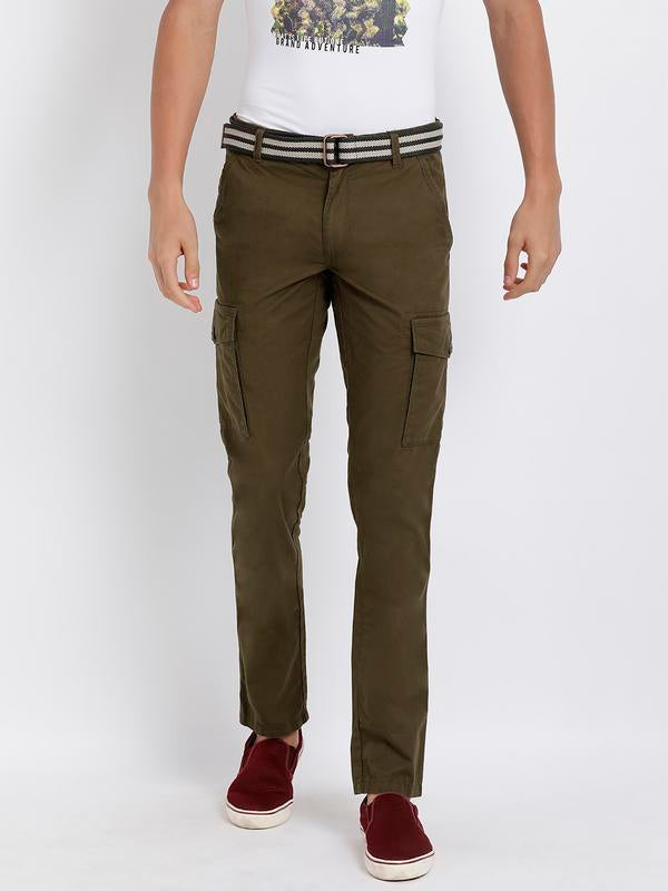 t-base men's olive solid cargo pants