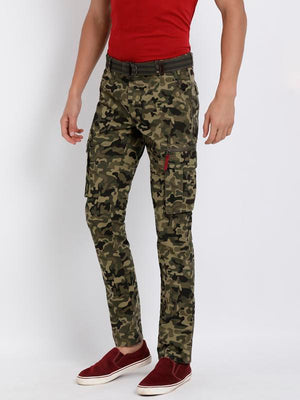 t-base men's olive camo print cargo pants
