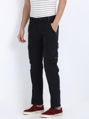 t-base men's blue regular fit cargo pants
