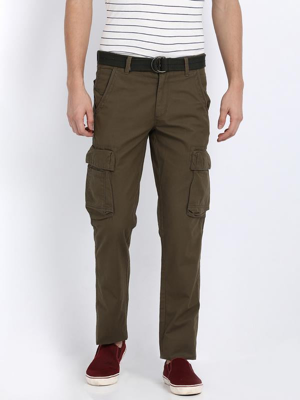 t-base men's olive regular fit cargo pants